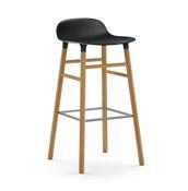 Stołek barowy Form 75 cm czarny drewno dębowe - małe zdjęcie