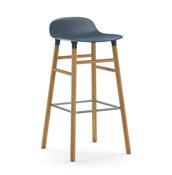 Stołek barowy Form 75 cm niebieski drewno dębowe - małe zdjęcie