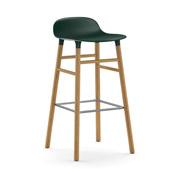 Stołek barowy Form 75 cm zielony drewno dębowe - małe zdjęcie