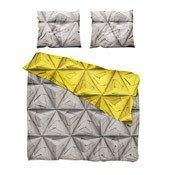 Pościel Monogami 200 x 200 cm musztardowy żółty i brązowoszary