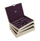 Pudełko na biżuterię potrójne supersize Stackers kremowo-fioletowe - małe zdjęcie
