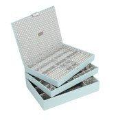 Pudełko na biżuterię potrójne supersize Stackers błękitno-szare - małe zdjęcie