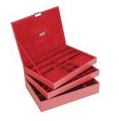 Pudełko na biżuterię potrójne supersize Stackers czerwone - małe zdjęcie