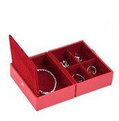 Pudełko na biżuterię podróżne Travel Box Stackers czerwone - małe zdjęcie