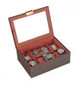 Pudełko na zegarki ze szklaną pokrywką Stackers brązowo-pomarańczowe - małe zdjęcie