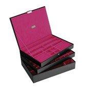 Pudełko na biżuterię potrójne supersize Stackers czarno-fuksjowe - małe zdjęcie