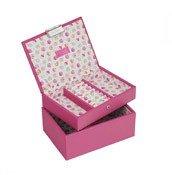 Pudełko na biżuterię dla dzieci podwójne mini Junior Stackers fuksja - małe zdjęcie