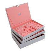 Pudełko na biżuterię potrójne supersize Stackers szaro-koralowe - małe zdjęcie