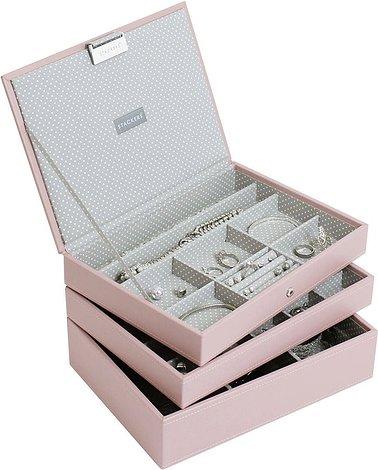 Pudełko na biżuterię potrójne classic Stackers jasnoróżowe