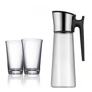 Karafka do wody Basic z uchwytem z 2 szklankami i perełkami do czyszcz